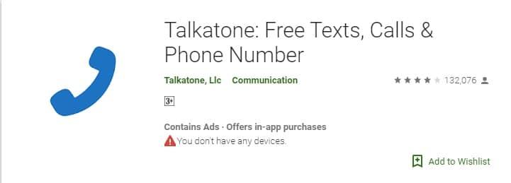 أهم تطبيقات الحصول على رقم أمريكي مجاني تطبيق Talkatone