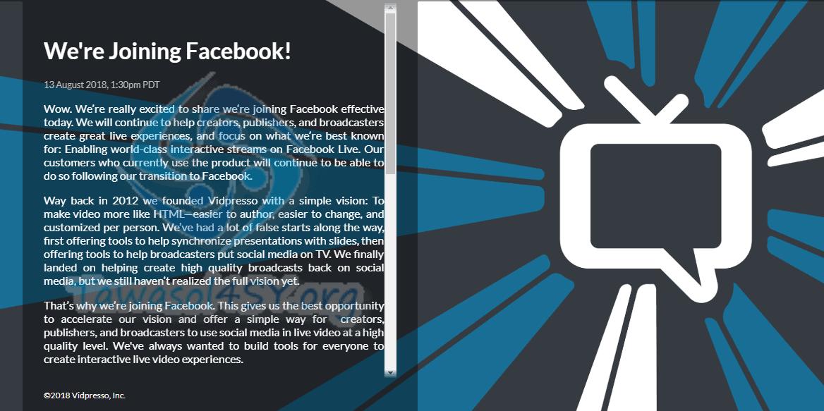 Vidpresso يعلن الانضمام الى فايسبوك بصفقة غير واضحة