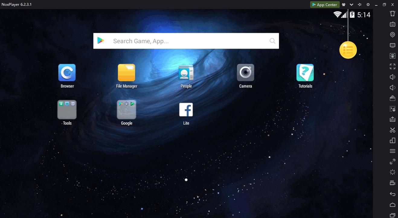 واجهة برنامج محاكي الاندرويدNox App Player